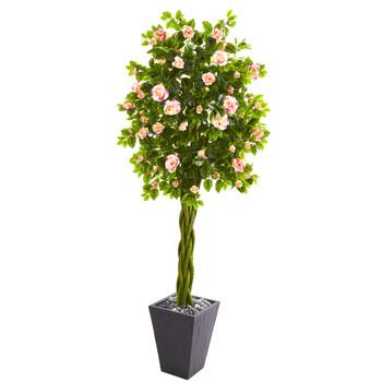 6 Rose Artificial Tree in Slate Planter - SKU #9308