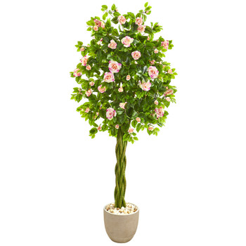 6 Rose Artificial Tree in Sand Stone Planter - SKU #9309
