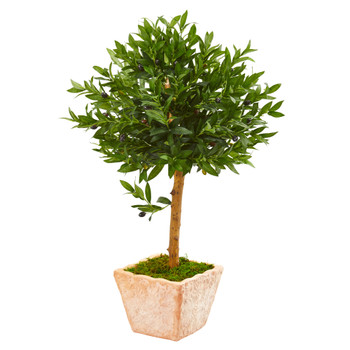 3 Olive Topiary Artificial Tree in Terra Cotta Planter UV Resistant Indoor/Outdoor - SKU #9312