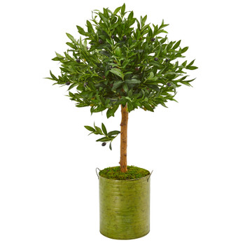 3 Olive Topiary Artificial Tree in Green Planter UV Resistant Indoor/Outdoor - SKU #9313
