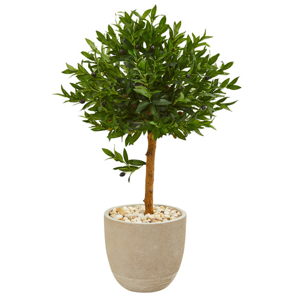 40 Olive Topiary Artificial Tree in Sand Stone Planter UV Resistant Indoor/Outdoor - SKU #9314