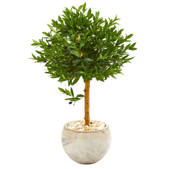 38 Olive Topiary Artificial Tree in Bowl Planter UV Resistant Indoor/Outdoor - SKU #9315