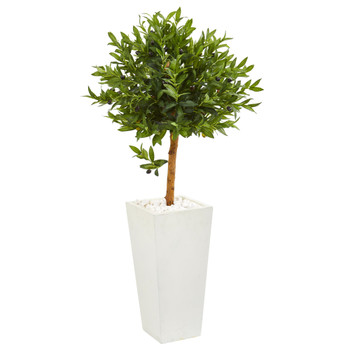 4 Olive Topiary Artificial Tree in White Planter UV Resistant Indoor/Outdoor - SKU #9316