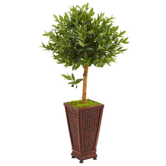 46 Olive Topiary Artificial Tree in Decorative Planter - SKU #9317