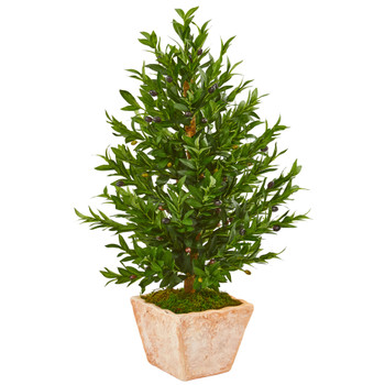 35 Olive Cone Topiary Artificial Tree in Terra Cotta Planter UV Resistant Indoor/Outdoor - SKU #9318