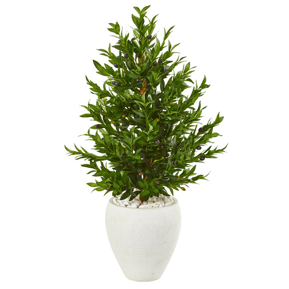 3.5 Olive Cone Topiary Artificial Tree in White Planter UV Resistant Indoor/Outdoor - SKU #9319