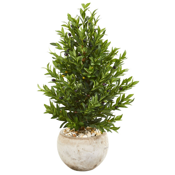 3 Olive Cone Topiary Artificial Tree in Sand Stone Planter UV Resistant Indoor/Outdoor - SKU #9320