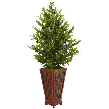 46 Olive Cone Topiary Artificial Tree in Decorative Planter - SKU #9321