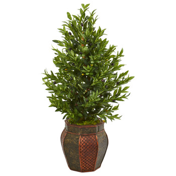 40 Olive Cone Topiary Artificial Tree in Decorative Planter - SKU #9322