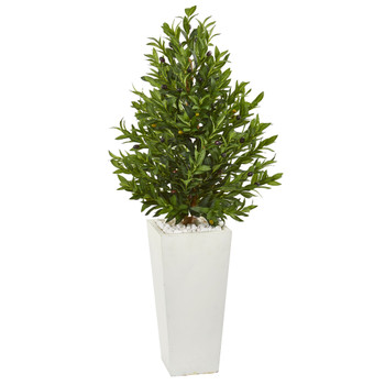 4 Olive Cone Topiary Artificial Tree in White Planter UV Resistant Indoor/Outdoor - SKU #9323