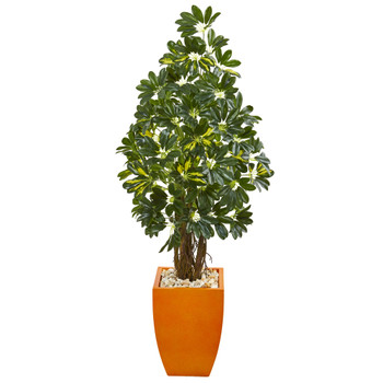 59 Schefflera Artificial Tree in Orange Planter - SKU #9328