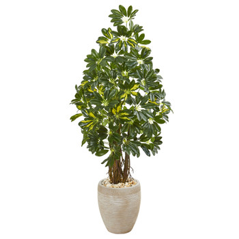 4.5 Schefflera Artificial Tree in Sand Colored Planter - SKU #9331