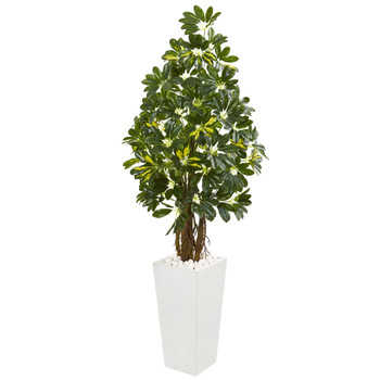 5 Schefflera Artificial Tree in White Tower Planter - SKU #9332