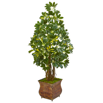 52 Schefflera Artificial Tree in Brown Metal Planter - SKU #9333