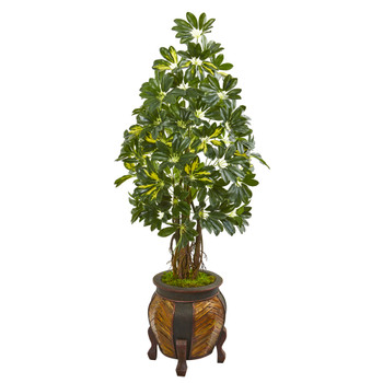 57 Schefflera Artificial Tree in Decorative Planter - SKU #9334