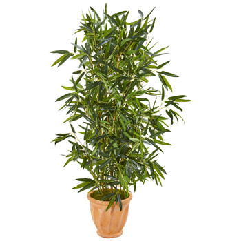 4.5 Bamboo Artificial Tree in Terra Cotta Planter Real Touch UV Resistant Indoor/Outdoor - SKU #9336