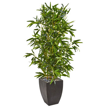 5 Bamboo Artificial Tree in Black Planter Real Touch UV Resistant Indoor/Outdoor - SKU #9337