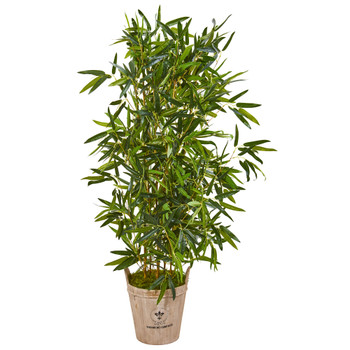58 Bamboo Artificial Tree in Farmhouse Planter Real Touch - SKU #9338