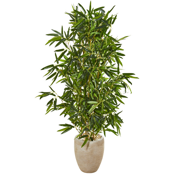 5 Bamboo Artificial Tree in Sand Colored Planter Real Touch UV Resistant Indoor/Outdoor - SKU #9339