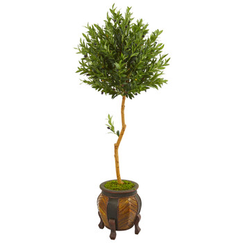 5.5 Olive Topiary Artificial Tree in Decorative Planter - SKU #9340