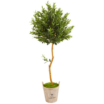 63 Olive Topiary Artificial Tree in Farmhouse Planter - SKU #9341