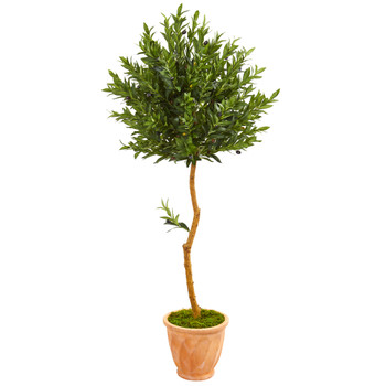 63 Olive Topiary Artificial Tree in Terra Cotta Planter UV Resistant Indoor/Outdoor - SKU #9342