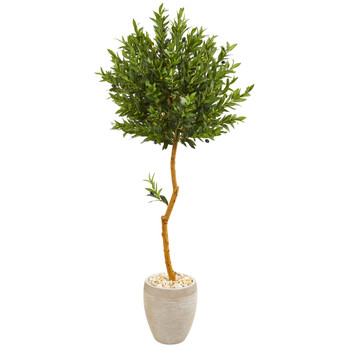 5.5 Olive Topiary Artificial Tree in Sand Colored Planter UV Resistant Indoor/Outdoor - SKU #9343