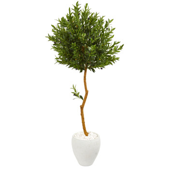 63 Olive Topiary Artificial Tree in White Planter UV Resistant Indoor/Outdoor - SKU #9344