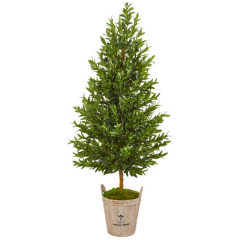 5 Olive Cone Topiary Artificial Tree in Farmhouse Planter - SKU #9345