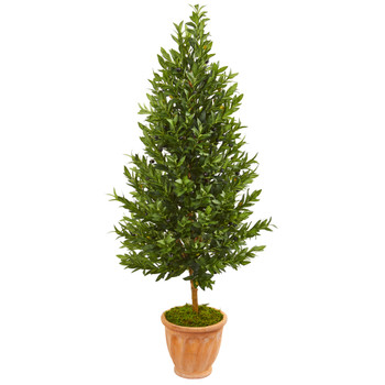 5 Olive Cone Topiary Artificial Tree in Terra Cotta Planter UV Resistant Indoor/Outdoor - SKU #9346