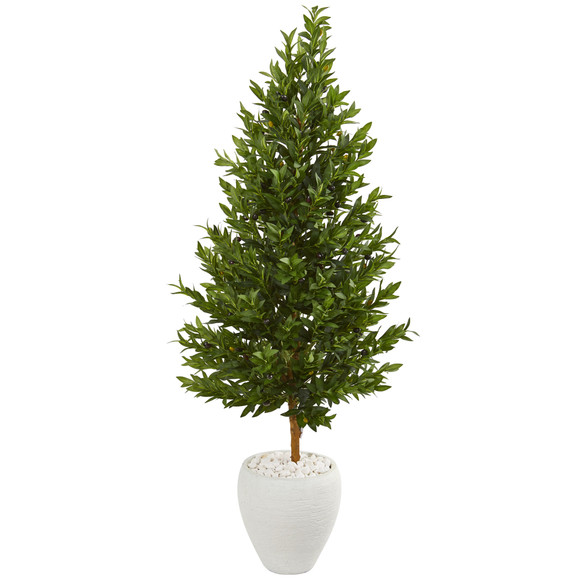 5 Olive Cone Topiary Artificial Tree in White Planter UV Resistant Indoor/Outdoor - SKU #9347