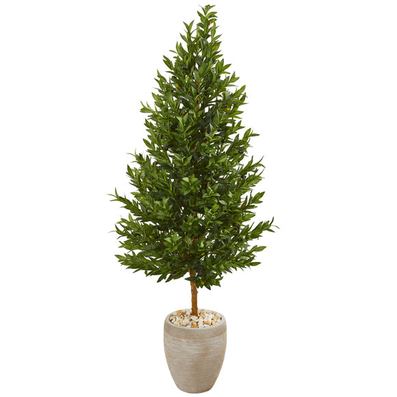 62 Olive Cone Topiary Artificial Tree in Sand Colored Planter UV Resistant Indoor/Outdoor - SKU #9348