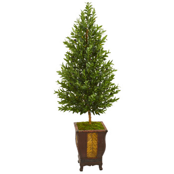 69 Olive Cone Topiary Artificial Tree in Decorative Planter - SKU #9349