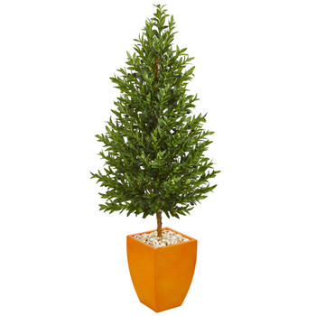 5.5 Olive Cone Topiary Artificial Tree in Orange Planter UV Resistant Indoor/Outdoor - SKU #9350