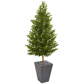 67 Olive Cone Topiary Artificial Tree in Slate Planter UV Resistant Indoor/Outdoor - SKU #9351