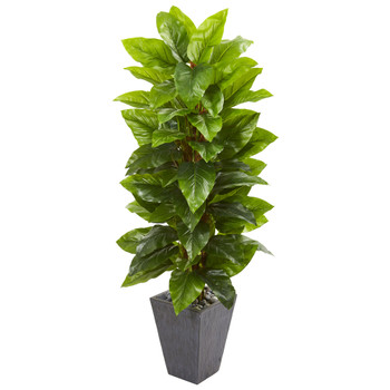 5 Large Leaf Philodendron Artificial Plant in Slate Planter Real Touch - SKU #9352