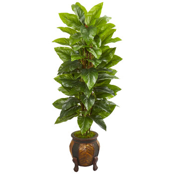 59 Large Leaf Philodendron Artificial Plant in Decorative Planter Real Touch - SKU #9353