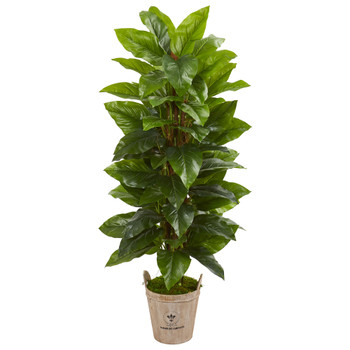 63 Large Leaf Philodendron Artificial Plant in Farmhouse Planter Real Touch - SKU #9354