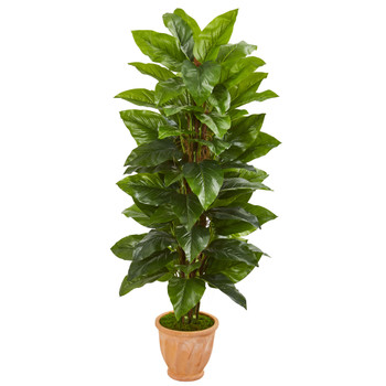 5 Large Leaf Philodendron Artificial Plant in Terra Cotta Planter Real Touch - SKU #9355