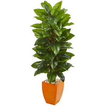 5.5 Large Leaf Philodendron Artificial Plant in Orange Planter Real Touch - SKU #9356