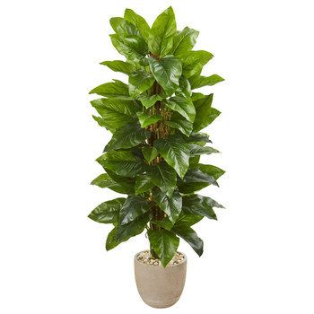 58 Large Leaf Philodendron Artificial Plant in Sand Stone Planter Real Touch - SKU #9358