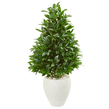 44 Bay Leaf Cone Topiary Artificial Tree in White Planter UV Resistant Indoor/Outdoor - SKU #9359