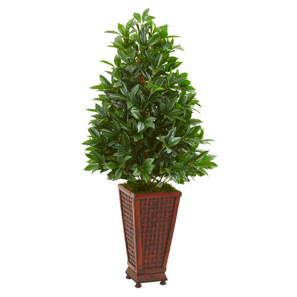 4 Bay Leaf Artificial Topiary Tree in Decorative Planter - SKU #9360