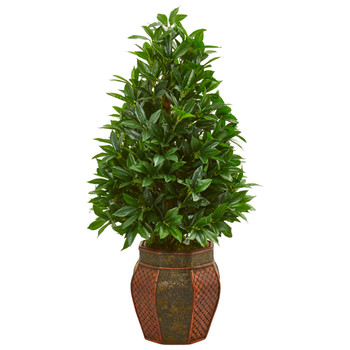3.5 Bay Leaf Cone Topiary Artificial Tree in Decorative Planter - SKU #9361