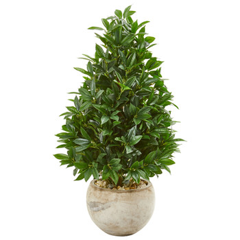 38 Bay Leaf Cone Topiary Artificial Tree in Bowl Planter UV Resistant Indoor/Outdoor - SKU #9362