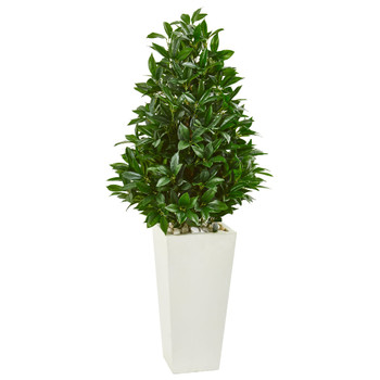 4 Bay Leaf Cone Topiary Artificial Tree in White Tower Planter UV Resistant Indoor/Outdoor - SKU #9364