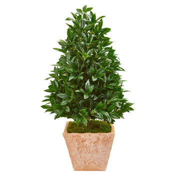 39 Bay Leaf Cone Topiary Artificial Tree in Terra Cotta Planter UV Resistant Indoor/Outdoor - SKU #9365