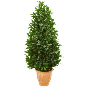 4.5 Bay Leaf Cone Topiary Artificial Tree in Terra Cotta Planter UV Resistant Indoor/Outdoor - SKU #9366