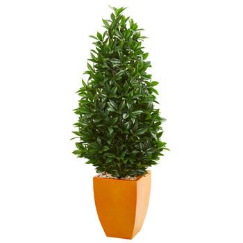 57 Bay Leaf Artificial Topiary Tree in Orange Planter UV Resistant Indoor/Outdoor - SKU #9367