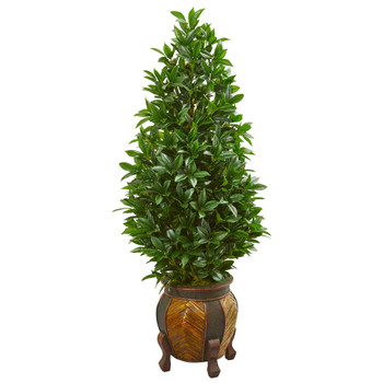 56 Bay Leaf Cone Topiary Artificial Tree in Decorative Planter - SKU #9370